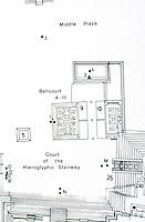 World Civilization:  Mayan  Culture--Copan Plan  for Ballcourt, Hieroglyphic Stairway.