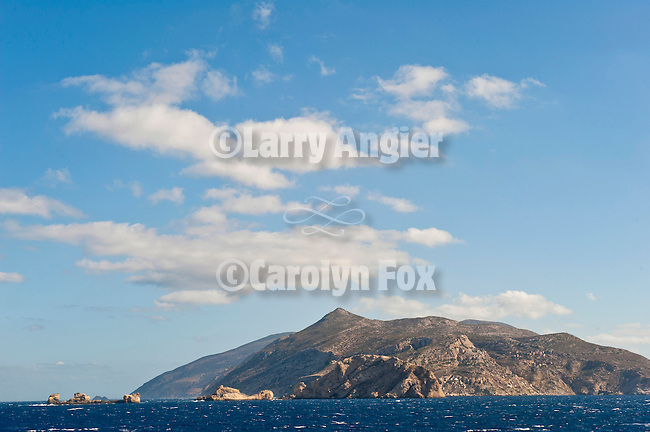 Island of Sikinos. Riding the NEL Lines Aqua Jewel ferry boat on the Aegean Sea from Folegandros to Syros in the Cyclades Islands of Greece.