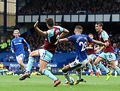 1st October 2017, Goodison Park, Liverpool, England; EPL Premier League Football, Everton versus Burnley; Dominic Calvert-Lewin of Everton shoots from a tight angle as Everton press for an equaliser late in the second half