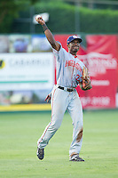 Hagerstown Suns left fielder Isaac Ballou (23) throws the ball back to the infield during the game against the Kannapolis Intimidators at CMC-Northeast Stadium on May 31, 2014 in Kannapolis, North Carolina.  The Intimidators defeated the Suns 4-3 in game two of a double-header.  (Brian Westerholt/Four Seam Images)