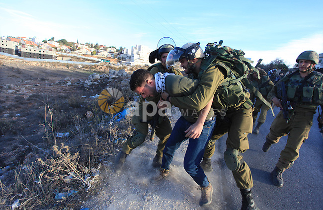 Israeli soldiers detain a Palestinian protester after clashes erupted during a protest against Israel's plan of forced relocation for Bedouin residents in the southern Negev, outside the Beit El settlement near the West Bank city of Ramallah November 30, 2013. Photo by Issam Rimawi