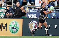 FC Gold Pride Coach Albertin Montoya claps on Greer Barnes (right) as she passes in the ball. FC Gold Pride tied the Los Angeles Sol 0-0 at Buck Shaw Stadium in Santa Clara, California on July 23, 2009.