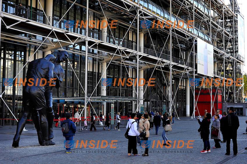 Statua che riproduce la testata di Zinedine Zidane a Marco Materazzi nella finale di coppa del mondo di Berlino 2006.Parigi 30/9/2012.Foto Gerard Roussel / Panoramic / Insidefoto.ITALY ONLY