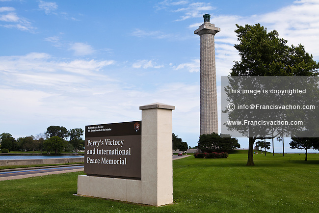 Perry's Victory and International Peace Memorial is pictured in Put-In-Bay, Ohio, Wednesday August 7, 2013. Perry's Victory and International Peace Memorial commemorates the victory of  Commodore Oliver Hazard Perry in the War of 1812 and the lasting peace between Britain, Canada, and the United States that followed the war.