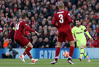 Barcelona's Lionel Messi threads a pass under pressure from Liverpool's Jordan Henderson (left) and Trent Alexander-Arnold<br /> <br /> Photographer Rich Linley/CameraSport<br /> <br /> UEFA Champions League Semi-Final 2nd Leg - Liverpool v Barcelona - Tuesday May 7th 2019 - Anfield - Liverpool<br />  <br /> World Copyright &copy; 2018 CameraSport. All rights reserved. 43 Linden Ave. Countesthorpe. Leicester. England. LE8 5PG - Tel: +44 (0) 116 277 4147 - admin@camerasport.com - www.camerasport.com