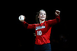 KANSAS CITY, KS - DECEMBER 14: Hunter Atherton #10 of the University of Nebraska is introduced prior to the Division I Women's Volleyball Semifinals held at Sprint Center on December 14, 2017 in Kansas City, Missouri. (Photo by Tim Nwachukwu/NCAA Photos via Getty Images)