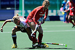 The Hague, Netherlands, June 13: Katharina Otte #13 of Germany vies for the ball during the field hockey placement match (Women - Place 7th/8th) between Korea and Germany on June 13, 2014 during the World Cup 2014 at Kyocera Stadium in The Hague, Netherlands. Final score 4-2 (2-0)  (Photo by Dirk Markgraf / www.265-images.com) *** Local caption ***