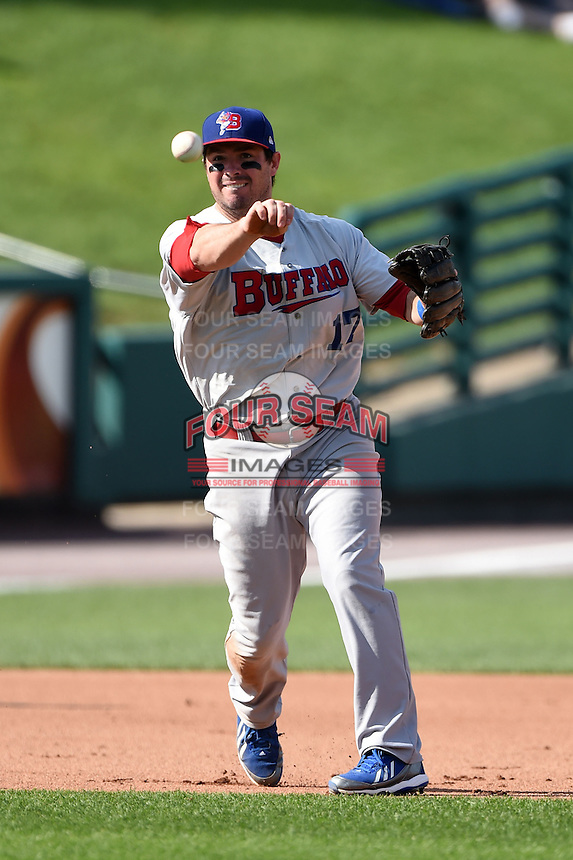 Buffalo Bisons third baseman Andy LaRoche (17) throws to first during the first game of a doubleheader against the Rochester Red Wings on July 6, 2014 at Frontier Field in Rochester, New  York.  Rochester defeated Buffalo 6-1.  (Mike Janes/Four Seam Images)