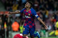 2nd February 2020; Camp Nou, Barcelona, Catalonia, Spain; La Liga Football, Barcelona versus Levante; Ansu Fati of FC Barcelona celebrates his 2nd goal of the game for 2-0 in the 31st minute