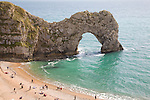 Famous natural coastal arch of Durdle Door on the Jurassic coast, Dorset, England