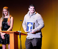 Carlo Calabrese Father Lange Iron Cross Award during the football show The Echoes 2013 Friday Dec. 13, 2013 at the DeBartolo Performing Arts Center on the campus of the University of Notre Dame South Bend, Ind.(Photo by Joe Raymond)
