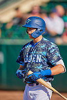 Jon Littell (48) of the Ogden Raptors at bat against the Idaho Falls Chukars at Lindquist Field on August 9, 2019 in Ogden, Utah. The Raptors defeated the Chukars 8-3. (Stephen Smith/Four Seam Images)
