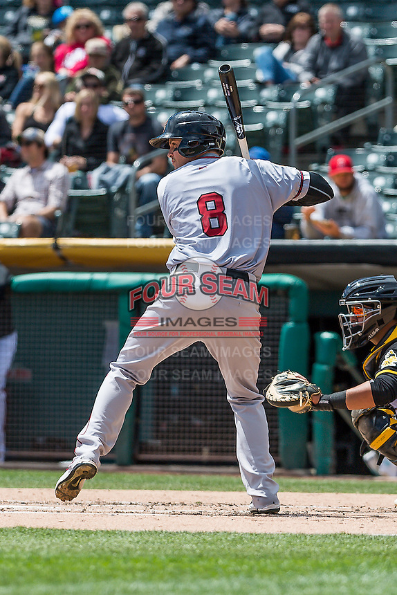 Grant Green (8) of the Sacramento River Cats at bat against the Salt Lake Bees in Pacific Coast League action at Smith's Ballpark on May 01, 2016 in Salt Lake City, Utah. Sacramento defeated Salt Lake 16-6.  (Stephen Smith/Four Seam Images)