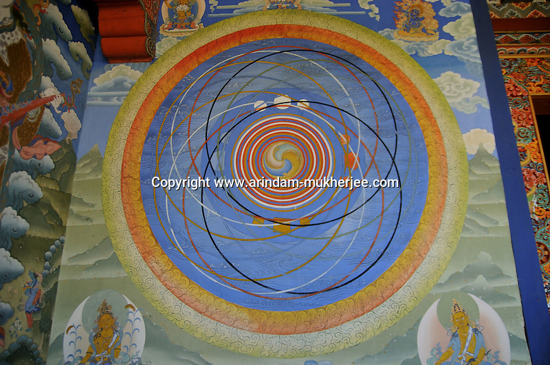 Buddhist cosmic painting on the wall of Kuriej Lhakhang Monastry, Jankar, Bumthang. Arindam Mukherjee.
