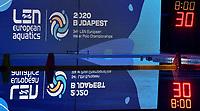 Banner European Championships, clock <br /> Budapest 12/01/2020 Duna Arena <br /> SLOVAKIA (white caps) Vs. RUSSIA (blue caps)<br /> XXXIV LEN European Water Polo Championships 2020<br /> Photo  © Andrea Staccioli / Deepbluemedia / Insidefoto