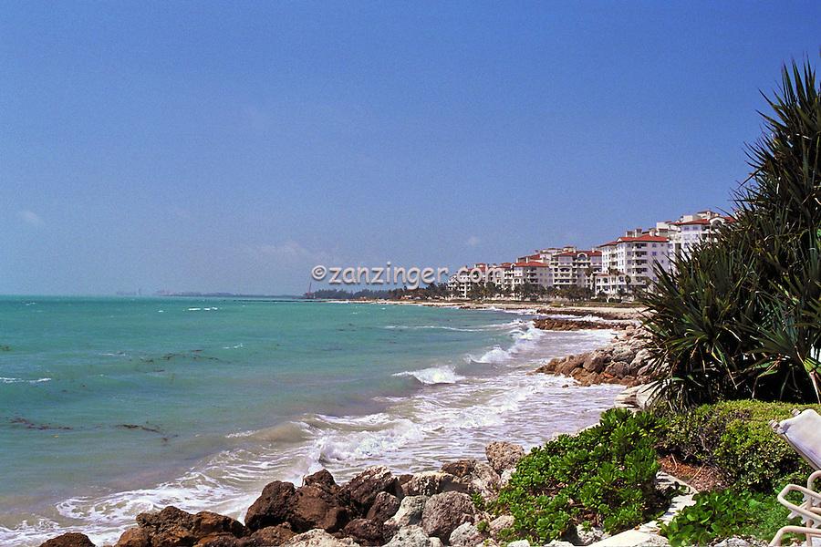 Fisher Island, Miami, FL,  Rocky Beach, Waves, Luxury Condos; Intracoastal Waterway, Miami Florida, USA; Atlantic Coast, luxurious, vacation,  breathtaking views,