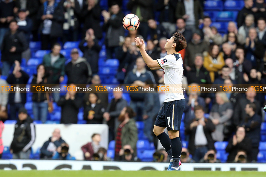 Son Heung-Min of Tottenham Hotspur with the match ball after  Tottenham Hotspur vs Millwall, Emirates FA Cup Football at White Hart Lane on 12th March 2017