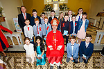 The pupils from Castledrum NS with Bishop Ray Browne, and Ciaran MacGearailt Principal at their Confirmation in Keel on Thursday