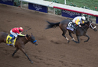 DEL MAR, CA - NOVEMBER 03: Forever Unbridled #6, ridden by John Velazquez, holds off Abel Tasman #4, ridden by Mike Smith, on the home stretch on Day 1 of the 2017 Breeders' Cup World Championships at Del Mar Thoroughbred Club on November 3, 2017 in Del Mar, California. (Photo by Ting Shen/Eclipse Sportswire/Breeders Cup)
