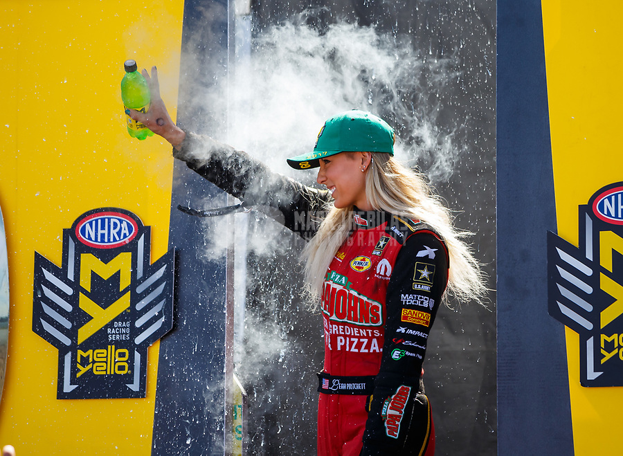 Jul 30, 2017; Sonoma, CA, USA; NHRA top fuel driver Leah Pritchett during the Sonoma Nationals at Sonoma Raceway. Mandatory Credit: Mark J. Rebilas-USA TODAY Sports
