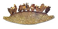 Mycenaean Gold diadem from Grave III, 'Grave of a Women', Grave Circle A, Myenae, Greece. National Archaeological Museum Athens. White Background.<br /> <br /> An impressive Mycenaean gold diadem with repousse rosettes and thin sheets applied to the top. .Cat No 1. 16th century BC.<br /> <br /> Shaft Grave III, the so-called 'Grave of the Women,' contained three female and two infant interments. The women were literally covered in gold jewelry and wore massive gold diadems, while the infants were overlaid with gold foil.
