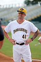 Bradenton Marauders coach Adam Godwin (41) during the lineup exchange before a game against the Tampa Tarpons on August 12, 2018 at LECOM Park in Bradenton, Florida.  The game was suspended in the bottom of the first inning due to weather.  (Mike Janes/Four Seam Images)