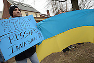 Washington, DC - March 2, 2014: Ukrainian-American protestors gather across from the Russian Embassy in Washington March 2 to support peace in the Ukraine. The Russian parliament approved military action in the region the previous day. (Photo by Don Baxter/Media Images International)