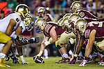 Florida State lines up against Notre Dame in the second half of an NCAA college football game  in Tallahassee, Fla., Saturday, Oct. 18, 2014.  Florida State defeated Notre Dame 31-27.  (AP Photo/Mark Wallheiser)