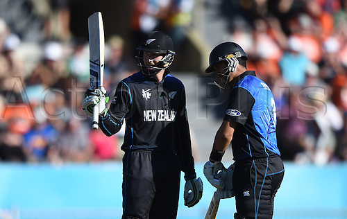 08.03.2015. Napier, New Zealand.  Martin Guptill acknowledges his 50 during the ICC Cricket World Cup match between New Zealand and Afghanistan at McLean Park in Napier, New Zealand. Sunday 8 March 2015.