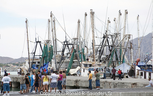 """MEXICAN TOURISTS ENJOY the ANNUAL """"NAVY DAY"""" CELEBRATION. HERE,they VIEW the COMMERCIAL FISHING SHIPS."""