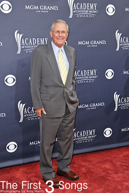 Former Secretary of Defense Donald Rumsfeld attends the 46th Annual Academy of Country Music Awards in Las Vegas, Nevada on April 3, 2011.