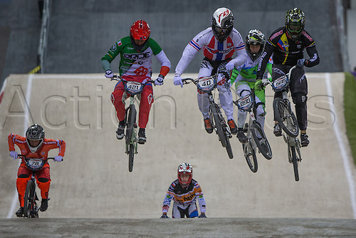 09.04.2016. National Cycling Centre, Manchester, England. UCI BMX Supercross World Cup day 1. Tore Navrestad leads from Romain Riccardi, Theo Chapelle and Carlos Mario Oquendo Zabala.