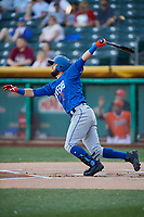Gavin Cecchini (2) of the Las Vegas 51s bats against the Salt Lake Bees at Smith's Ballpark on May 7, 2018 in Salt Lake City, Utah. The 51s defeated the Bees 10-8. (Stephen Smith/Four Seam Images)