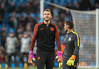 Goalkeeper Angus Gunn of Manchester City smiles during warm ups before the UEFA Champions League GROUP match between Manchester City and Celtic at the Etihad Stadium, Manchester, England on 6 December 2016. Photo by Andy Rowland.