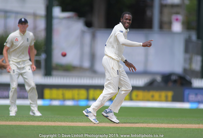 England's Jofra Archer prematurely celebrates dismissing NZ captain Kane Williamson (Joe Denley dropped the catch) during day five of the international cricket 2nd test match between NZ Black Caps and England at Seddon Park in Hamilton, New Zealand on Tuesday, 3 December 2019. Photo: Dave Lintott / lintottphoto.co.nz