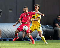 CLEVELAND, OH - JUNE 22: Gabriel Torres #9 and Terence Vancooten #15 contest the ball during a game between Panama and Guyana at FirstEnergy Stadium on June 22, 2019 in Cleveland, Ohio.