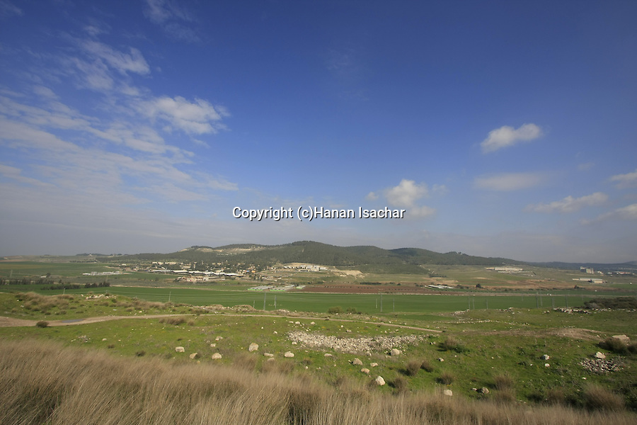 Israel, Shephelah. Sorek valley and Tel Tzora as seen from Tel Beth Shemesh