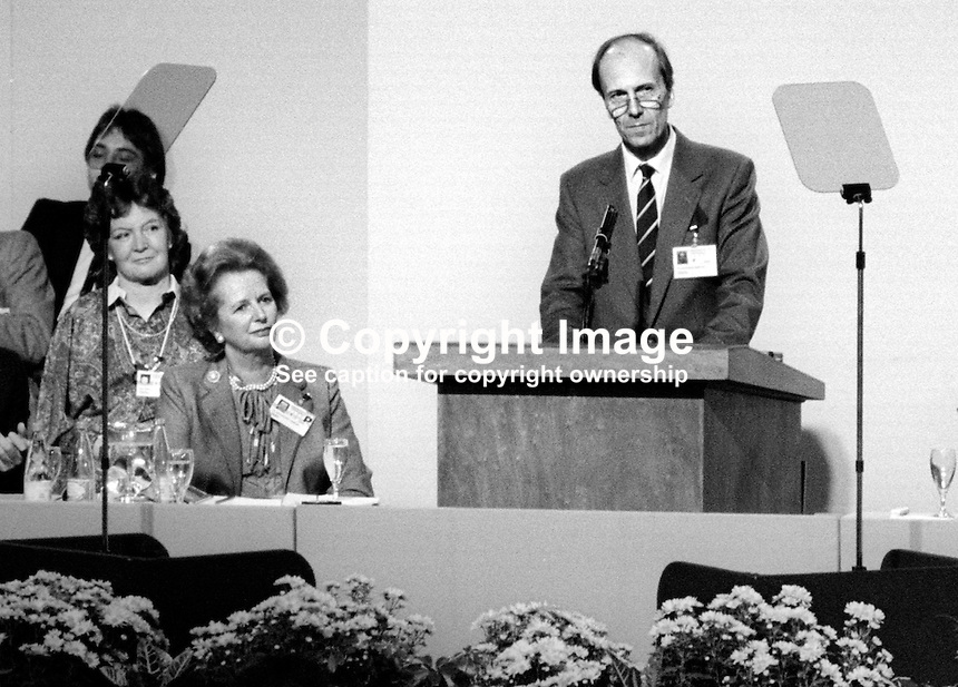 A defiant Margaret Tebbit was back on the platform October 1986 to hear her husband and Conservative Party chairman, Norman Tebbit, address the annual conference. Mr Tebbit was injured in the Provisional IRA bombing of Brighton's Grand Hotel two years earlier in 1984. His wife, more seriously injured, was left permanently disabled. Photo includes UK Prime Minister Margaret Thatcher. 19861003MT1<br /> <br /> Copyright Image from Victor Patterson, 54 Dorchester Park, <br /> Belfast, UK, BT9 6RJ<br /> <br /> t1: +44 28 9066 1296 (from Rep of Ireland 048 9066 1296)<br /> t2: +44 28 9002 2446 (from Rep of Ireland 048 9002 2446)<br /> m: +44 7802 353836<br /> <br /> e1: victorpatterson@me.com<br /> e2: victorpatterson@gmail.com<br /> <br /> www.victorpatterson.com<br /> <br /> Please see my Terms and Conditions of Use at www.victorpatterson.com. It is IMPORTANT that you familiarise yourself with them.<br /> <br /> Images used on the Internet must be visibly watermarked i.e. &copy; Victor Patterson within the body of the image and copyright metadata must not be deleted. Images used on the Internet have a size restriction of 4kbs and will be chargeable at current NUJ rates unless agreed otherwise.<br /> <br /> This image is only available for the use of the download recipient i.e. television station, newspaper, magazine, book publisher, etc, and must not be passed on to any third party. It is also downloaded on condition that each and every usage is notified within 7 days to victorpatterson@me.com<br /> <br /> The right of Victor Patterson to be identified as the author is asserted in accordance with The Copyright Designs And Patents Act (1988).