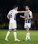 WBA's Jonny Evans argues with Gareth McAuley during the Premier League match at Vicarage Road Stadium, London. Picture date: April 4th, 2017. Pic credit should read: David Klein/Sportimage