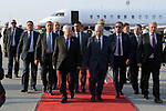 Palestinian President Mahmoud Abbas arrives to the Tunisia airport, Tunis, July 26, 2019. Tunisia is inviting world leaders to attend the funeral for its president who died in office and preparing a new election to replace him. The next election was originally set for Nov. 17, but is being rescheduled after President Beji Caid Essebsi died in office Thursday at 92. Photo by Thaer Ganaim