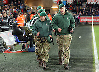 Soldiers on the pitch before the Barclays Premier League match between Swansea City and Watford at the Liberty Stadium, Swansea on January 18 2016