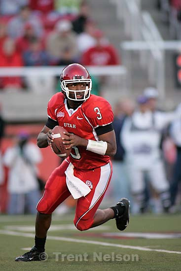 Utah quarterback Brian Johnson. University of Utah vs. Utah State University college football Saturday night at Rice-Eccles Stadium in Salt Lake City.<br />