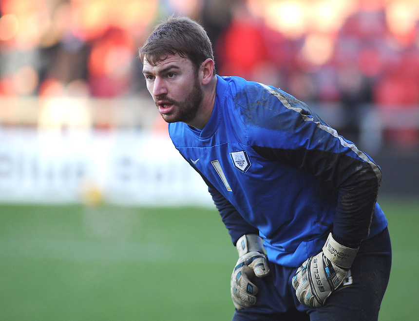 Preston North End's Jamie Jones during the pre-match warm-up <br /> <br /> Photographer Kevin Barnes/CameraSport<br /> <br /> Football - The Football League Sky Bet League One - Crewe Alexandra v Preston North End - Sunday 28th December 2014 - Alexandra Stadium - Crewe<br /> <br /> &copy; CameraSport - 43 Linden Ave. Countesthorpe. Leicester. England. LE8 5PG - Tel: +44 (0) 116 277 4147 - admin@camerasport.com - www.camerasport.com