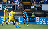 Nathan Tyson of Wycombe Wanderers crosses the ball during the Friendly match between Wycombe Wanderers and AFC Wimbledon at Adams Park, High Wycombe, England on 25 July 2017. Photo by Andy Rowland.