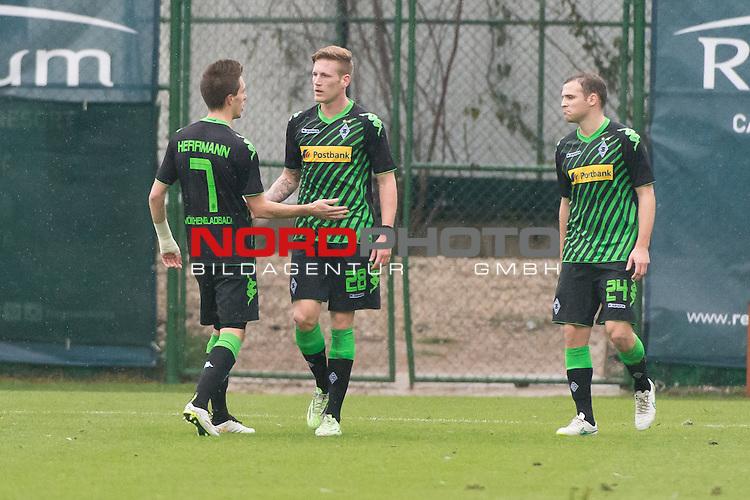 13.01.2015, Regnum Sport Center, Belek, TUR, 1.FBL, FSP Werder Bremen vs Borussia Moenchengladbach , im Bild<br /> <br /> Jubel Patrick Herrmann (Borussia M&ouml;nchengladbach)<br /> Andre Hahn (Borussia M&ouml;nchengladbach)<br /> Tony Jantschke (Borussia M&ouml;nchengladbach)<br /> <br /> Foto &copy; nordphoto / Kokenge