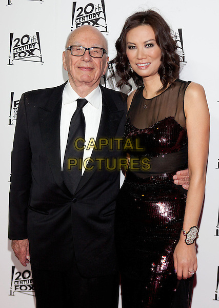 Rupert Murdoch & Wendi Deng Murdoch.2013 Twentieth Century Fox & Fox Searchlight Pictures Oscar Party held at  Lure, Hollywood, California, USA..February 24th, 2013.oscars half length married husband wife red sequins sequined dress sheer black suit white shirt tie glasses .CAP/ADM/DAN.©Dan Scott/AdMedia/Capital Pictures.