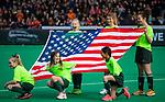 ROTTERDAM -  vlag  tijdens de Pro League hockeywedstrijd dames, Netherlands v USA (7-1)  .  COPYRIGHT  KOEN SUYK