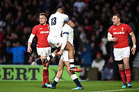 Jonny May of England celebrates his first try with team-mate Jonathan Joseph. Natwest 6 Nations match between England and Wales on February 10, 2018 at Twickenham Stadium in London, England. Photo by: Patrick Khachfe / Onside Images
