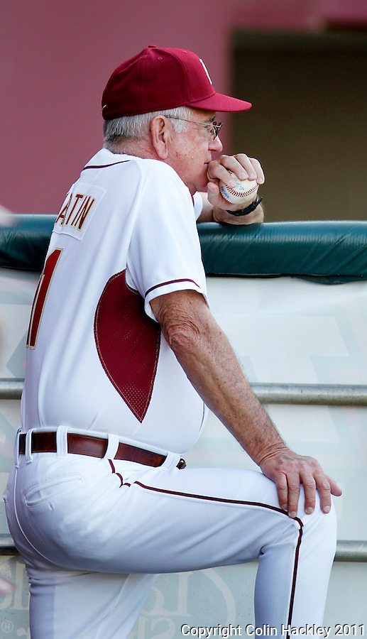TALLAHASSEE, FL 2/26/11-FSU-HOFSTRA BASE11 CH-Florida State Head Coach Mike Martin watches his team against Hofstra Saturday at Dick Howser Stadium in Tallahassee. The Seminoles beat the Pride 16-3...COLIN HACKLEY PHOTO
