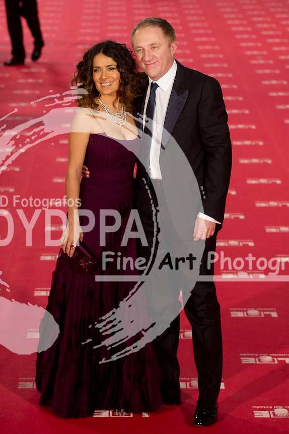 Mexican actress Shalma Hayek and her husband. French businessman François-Henri Pinault arrive to the Goya award ceremony at IFEMA Cogress Palace in Madrid on February 19, 2012. Photo by Eduardo Dieguez/ DYD Fotografos-DYDPPA